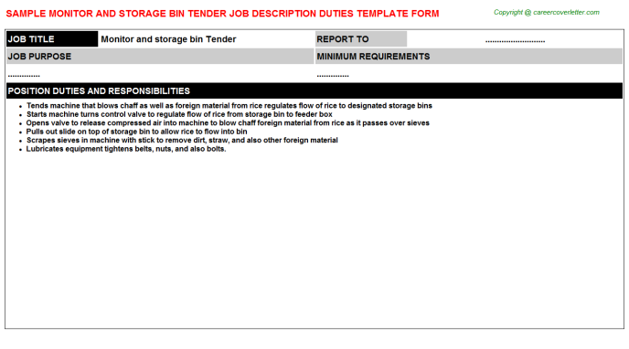 monitor and storage bin tender job description template