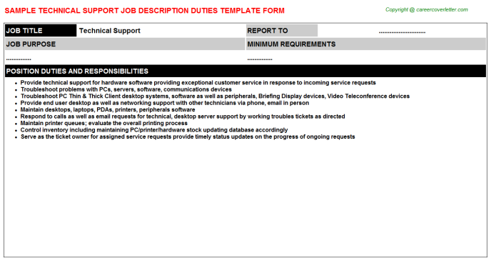 Technical Support Job Description Template
