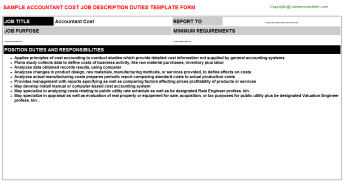 Accountant Cost Job Description Template