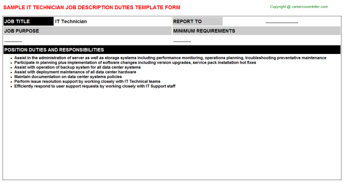 IT Technician Job Description Template
