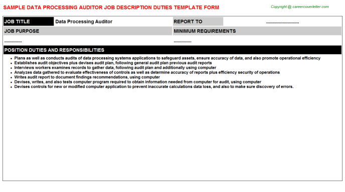 data processing auditor job description template