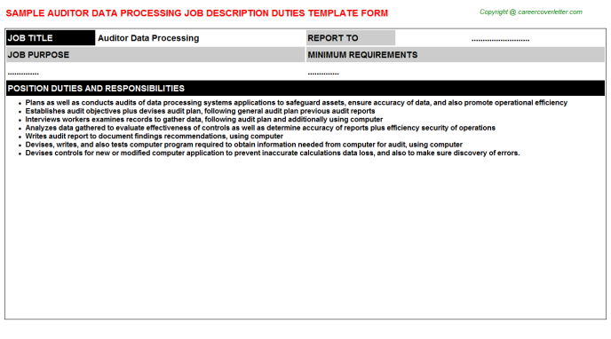 auditor data processing job description template