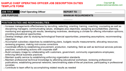 Chief Operating Officer Job Description Duties Template