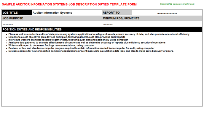 auditor information systems job description template