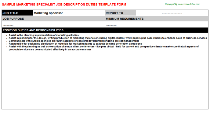 Marketing Specialist Job Description Template