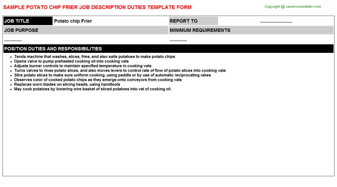 Potato Chip Frier Job Description Template