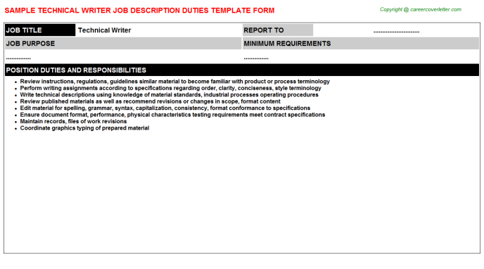 Technical Writer Job Description Template