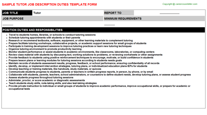 Tutor Job Description Template