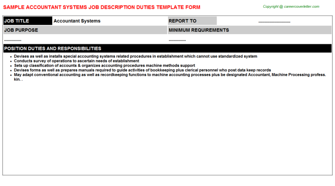 Accountant Systems Job Description Template