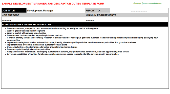 Development Manager Job Description Template