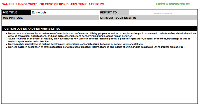 Ethnologist Job Description Template