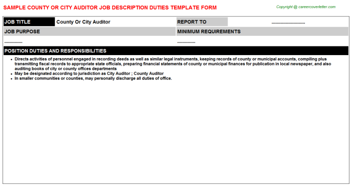 county or city auditor job description template