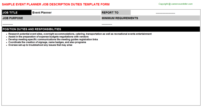 Event Planner Job Description Template