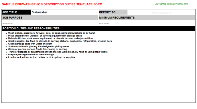 Dishwasher Job Description Template