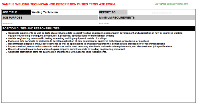 Welding Technician Job Description Template