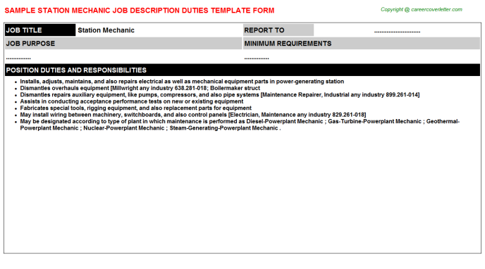 Station Mechanic Job Description Template