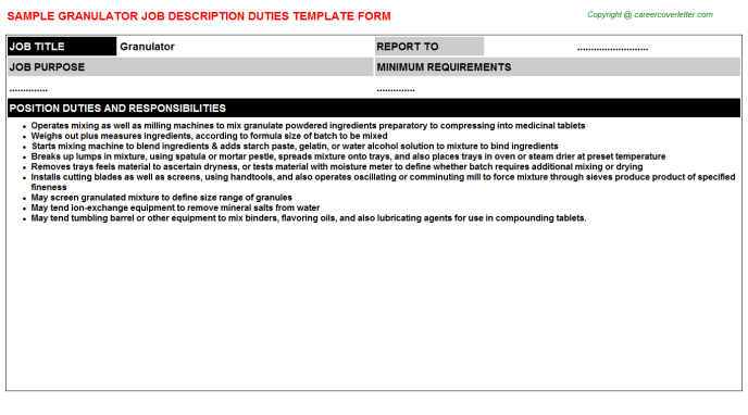 Granulator Job Description Template