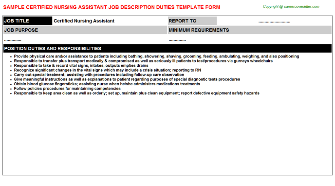 Certified Nursing Assistant Job Description Template