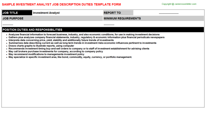 Investment Analyst Job Description Template