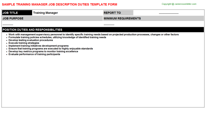 Training Manager Job Description Template