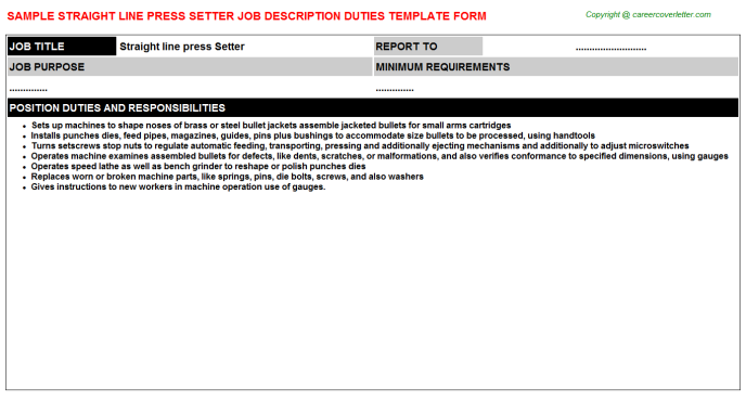 Straight Line Press Setter Job Description Template