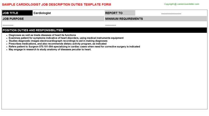 Cardiologist Job Description Template
