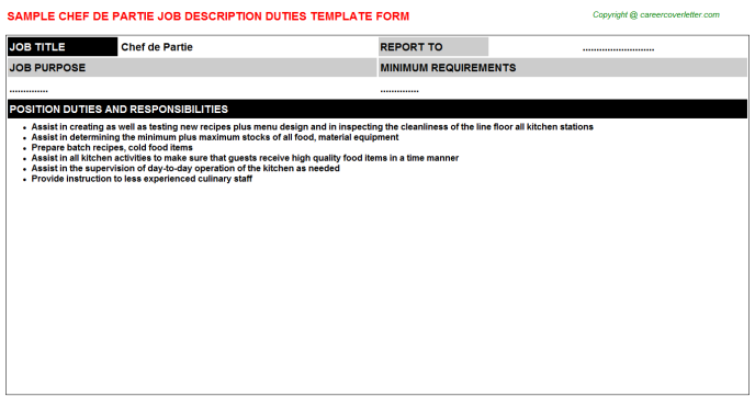 Chef De Partie Job Description Template