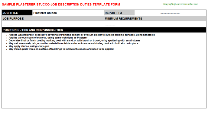 Plasterer Stucco Job Description Template