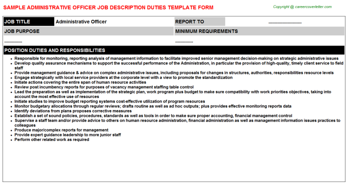 Administrative Officer Job Description Duties Template