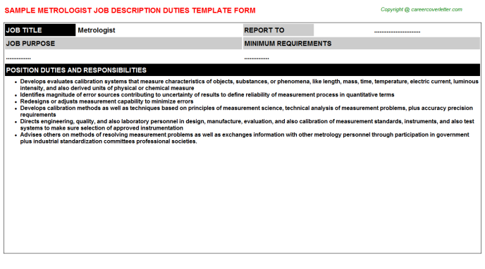 Metrologist Job Description Template