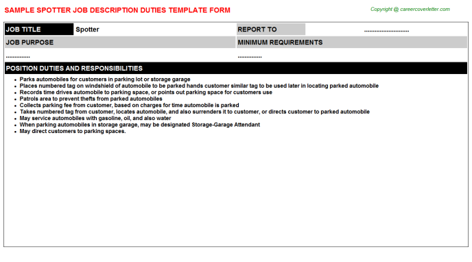 Spotter Job Description Template