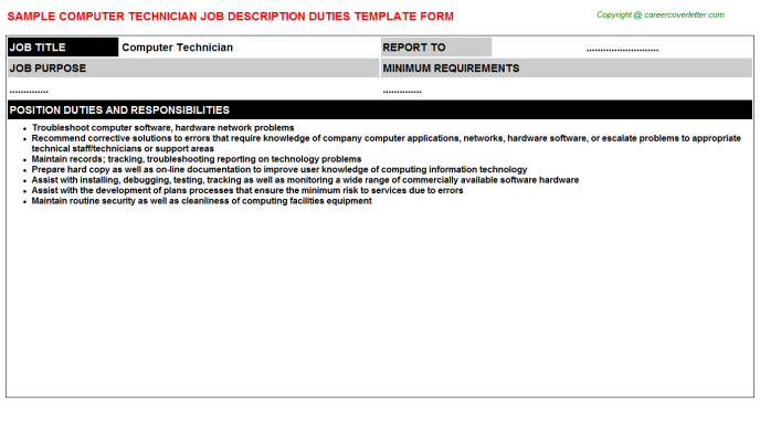 Computer Technician Job Description Template