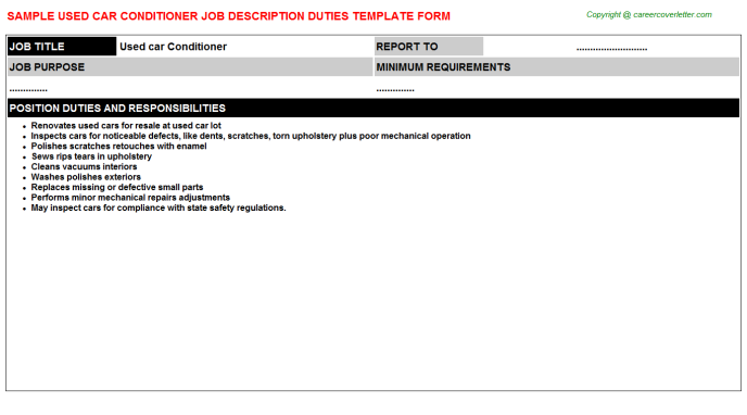 Used Car Conditioner Job Description Template