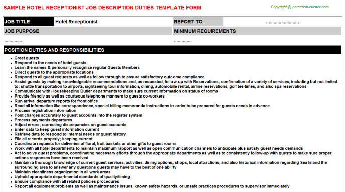 Hotel Receptionist Job Description Template