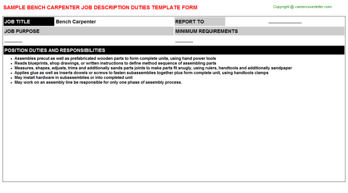 bench carpenter job description template