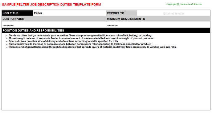 Felter Job Description Template