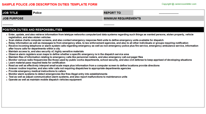 Police Job Description Template