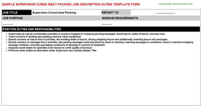 supervisor cured meat packing job description template