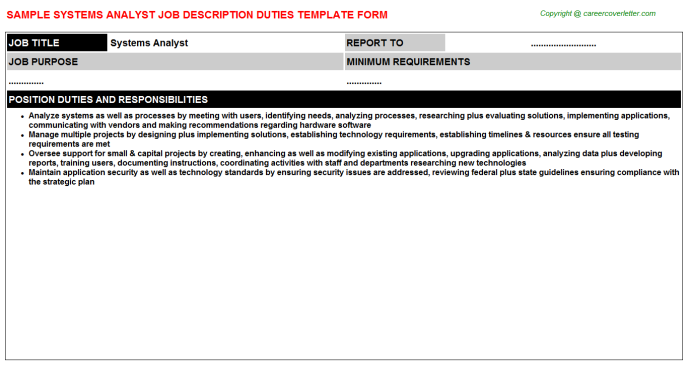 Systems Analyst Job Description Template
