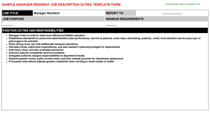 Manager Resident Job Description Template