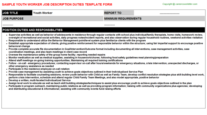 Youth Worker Job Description Template