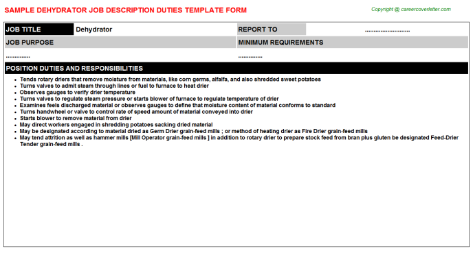 Dehydrator Job Description Template