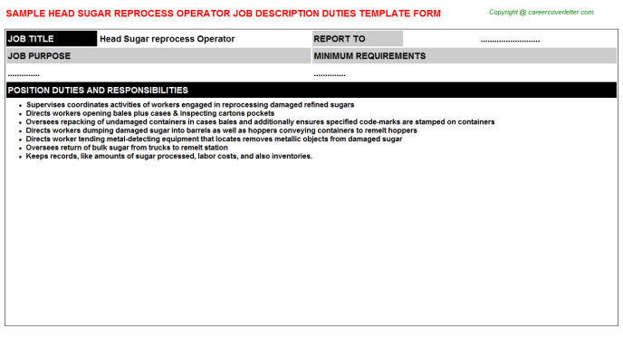 head sugar reprocess operator job description template