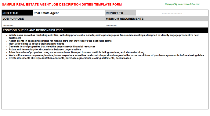 Real Estate Agent Job Description Template
