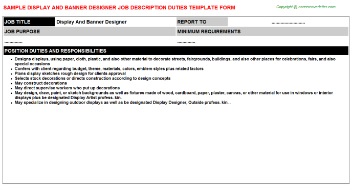 Display And Banner Designer Job Description Template