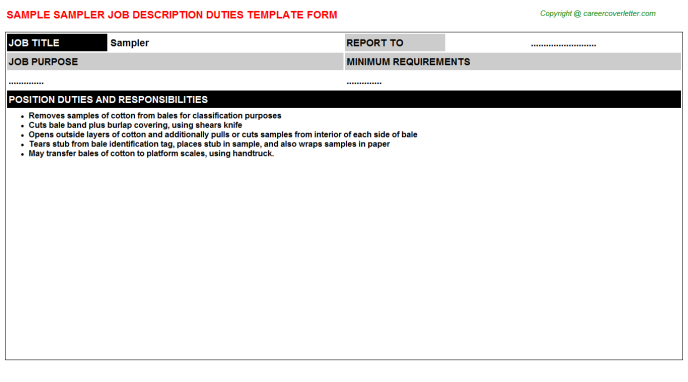 Sampler Job Description Template
