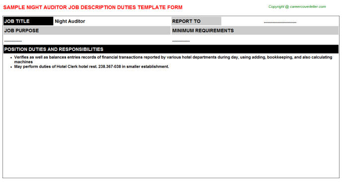 night auditor job description template