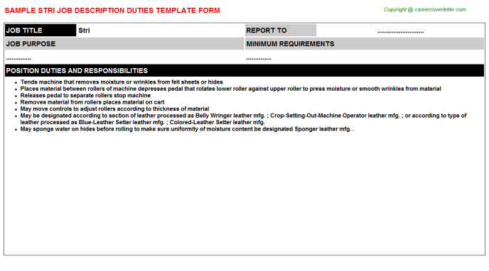 Stri Job Description Template