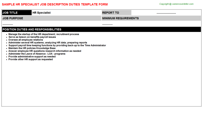 hr specialist job description template