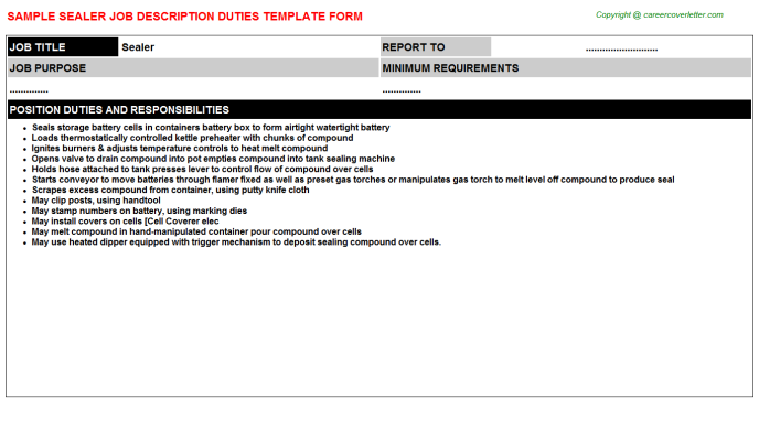Sealer Job Description Template
